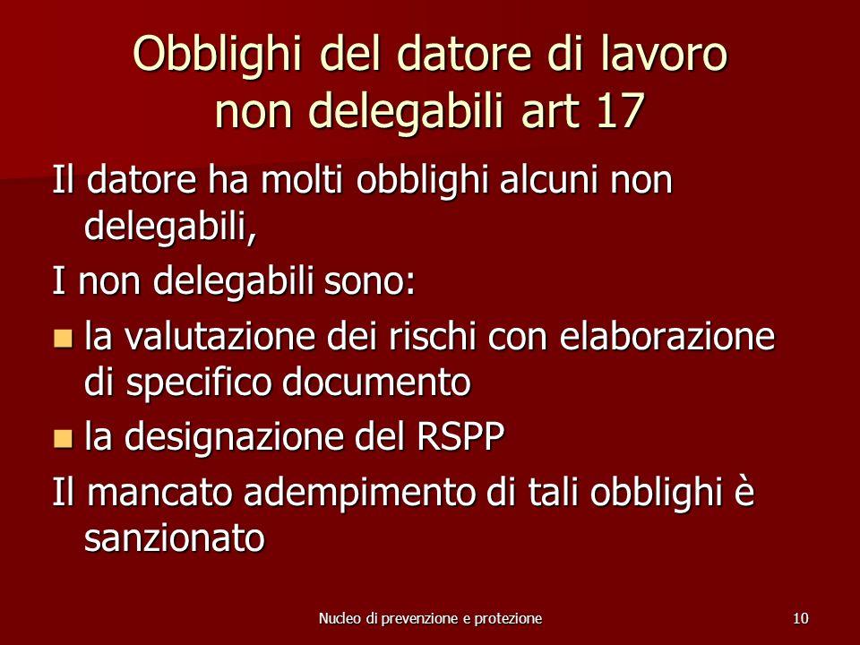 Obblighi del datore di lavoro non delegabili art 17