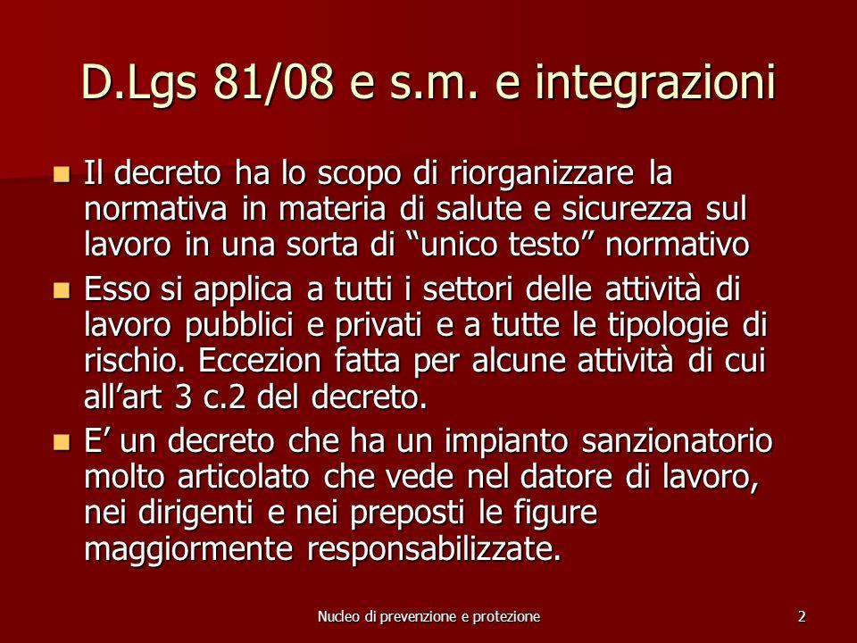 D.Lgs 81/08 e s.m. e integrazioni