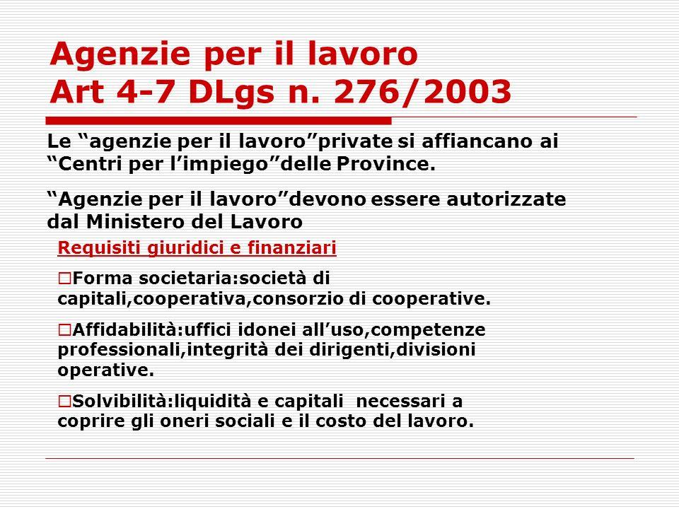 Agenzie per il lavoro Art 4-7 DLgs n. 276/2003