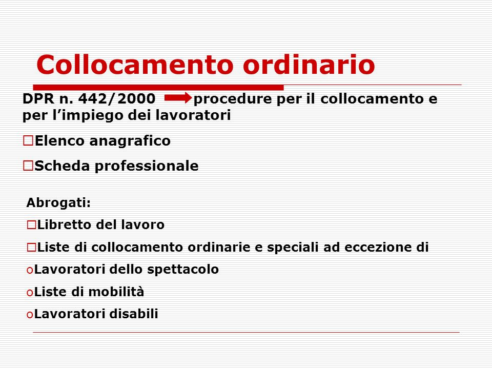 Collocamento ordinario