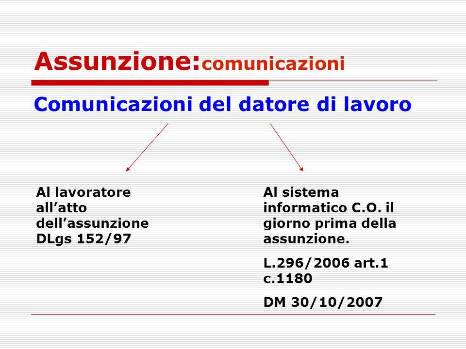 Assunzione:comunicazioni