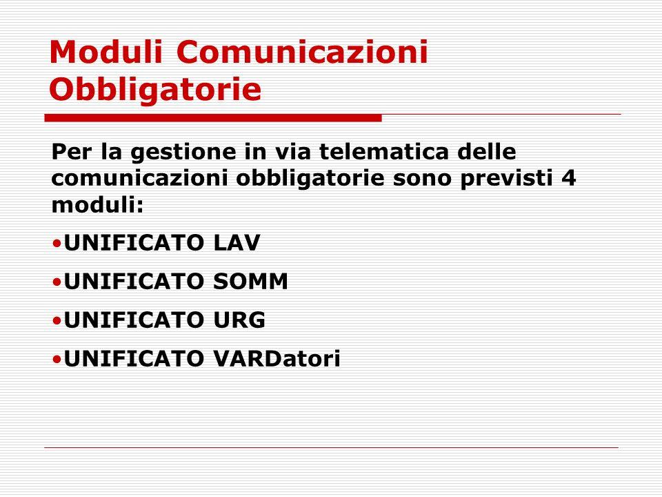 Moduli Comunicazioni Obbligatorie