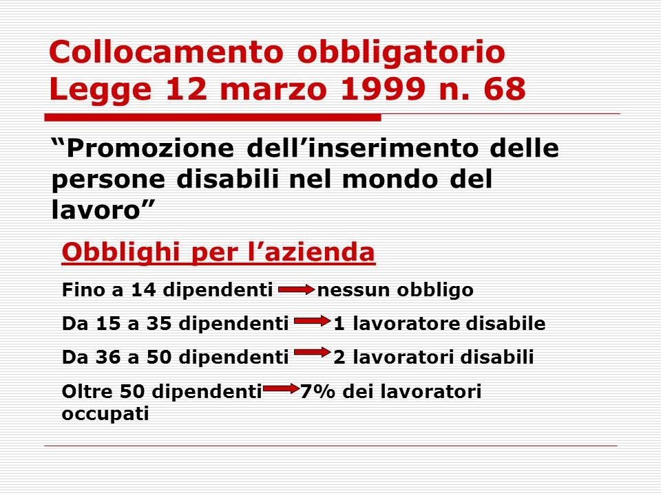 Collocamento obbligatorio Legge 12 marzo 1999 n. 68