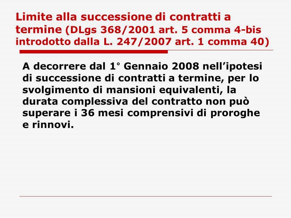 Limite alla successione di contratti a termine (DLgs 368/2001 art