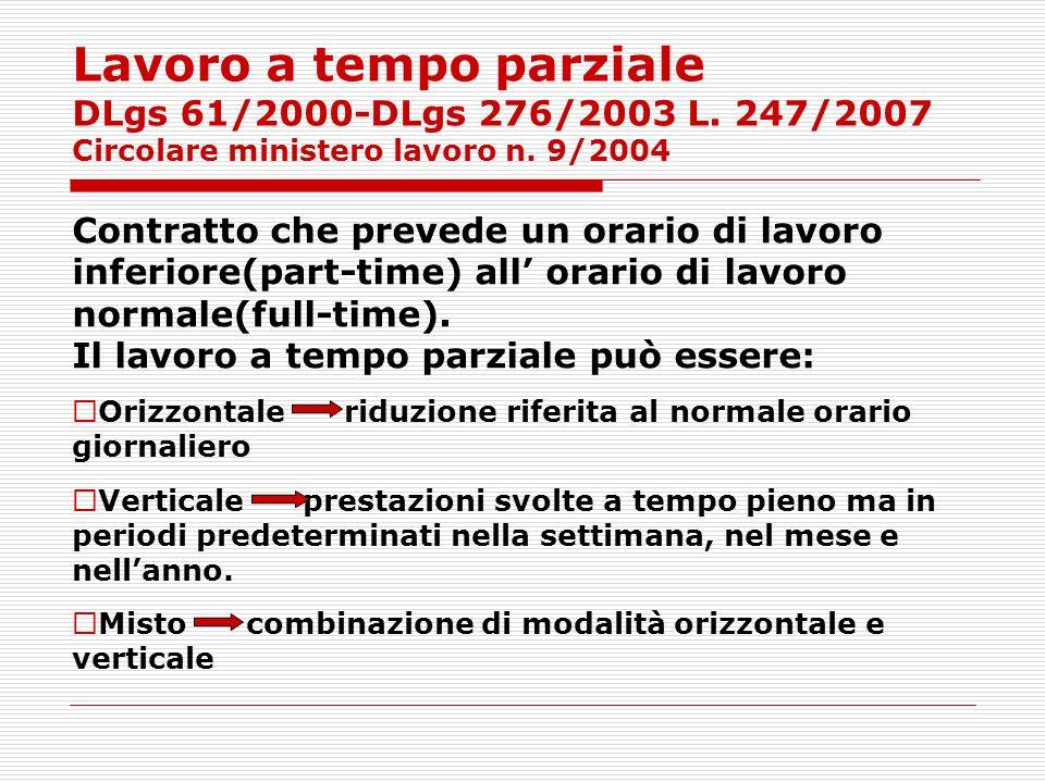 Lavoro a tempo parziale DLgs 61/2000-DLgs 276/2003 L