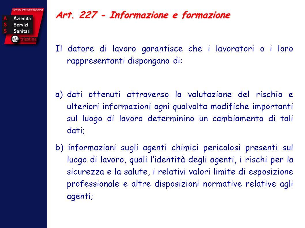 Art. 227 - Informazione e formazione
