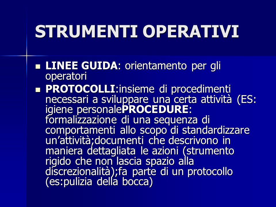STRUMENTI OPERATIVI LINEE GUIDA: orientamento per gli operatori