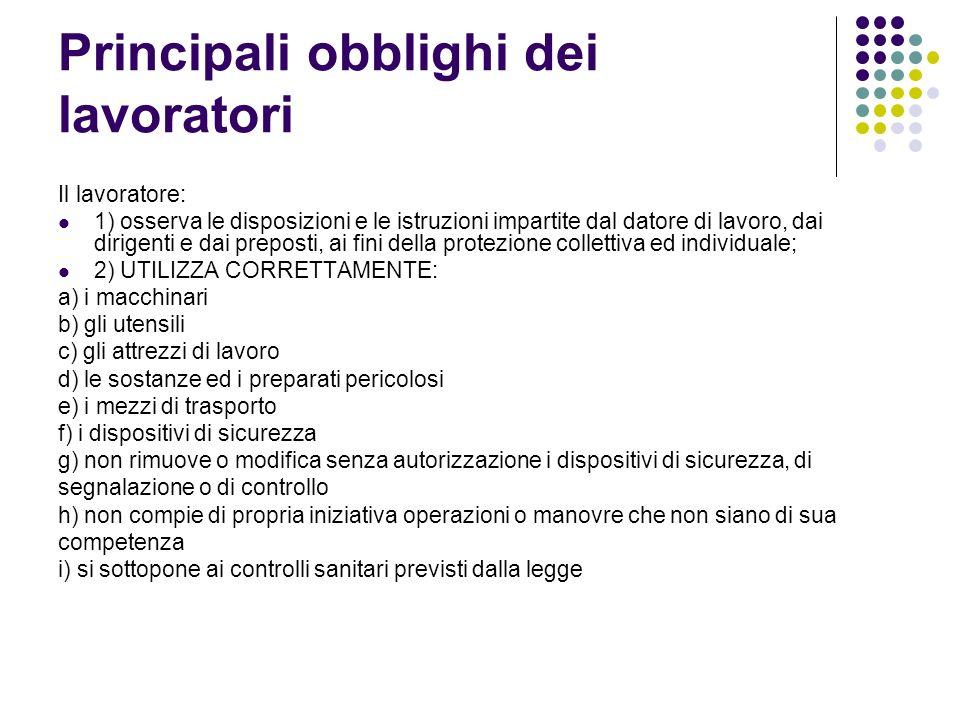 Principali obblighi dei lavoratori