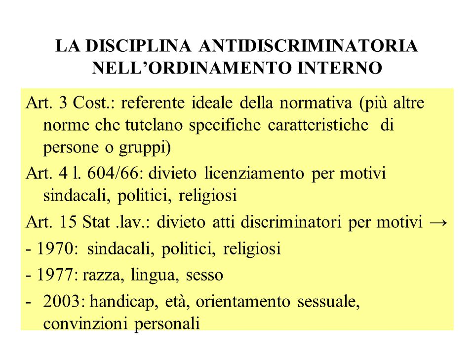LA DISCIPLINA ANTIDISCRIMINATORIA NELL'ORDINAMENTO INTERNO
