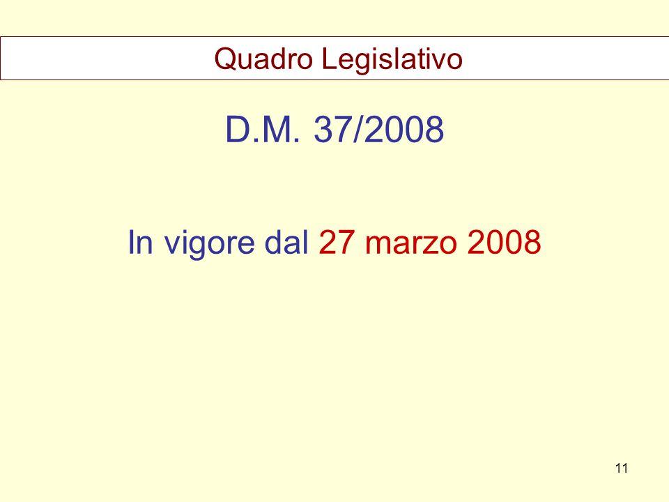 Quadro Legislativo D.M. 37/2008 In vigore dal 27 marzo 2008 11