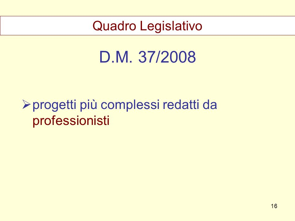 D.M. 37/2008 Quadro Legislativo