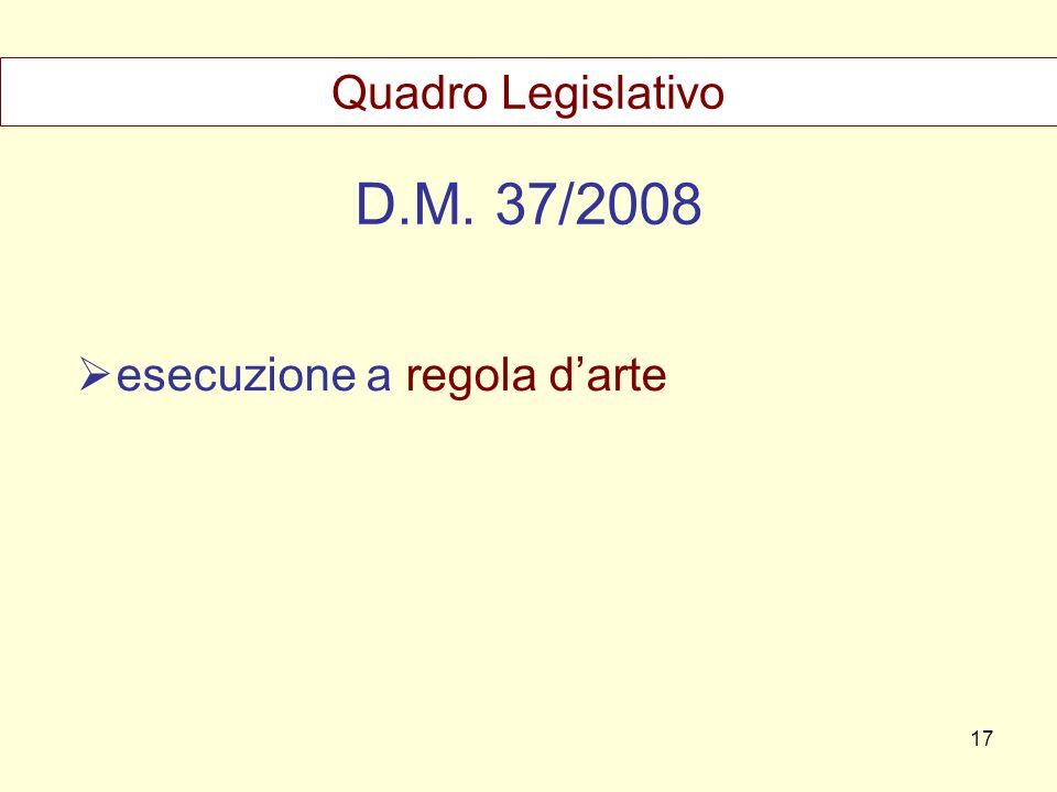 Quadro Legislativo D.M. 37/2008 esecuzione a regola d'arte 17