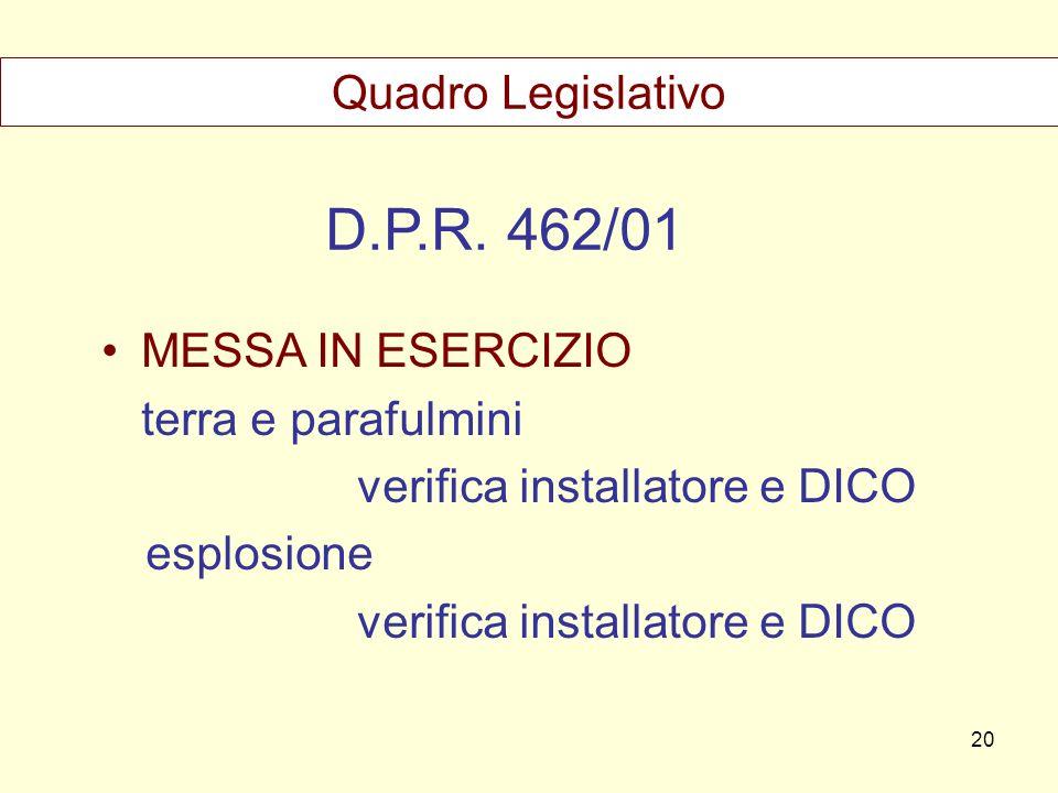 D.P.R. 462/01 Quadro Legislativo MESSA IN ESERCIZIO