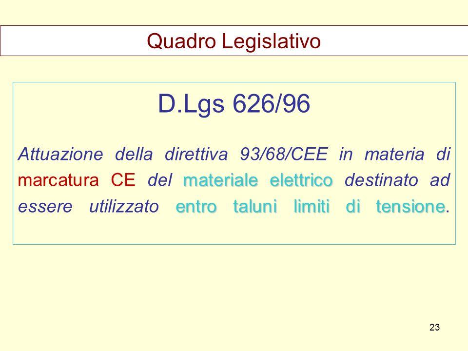 D.Lgs 626/96 Quadro Legislativo