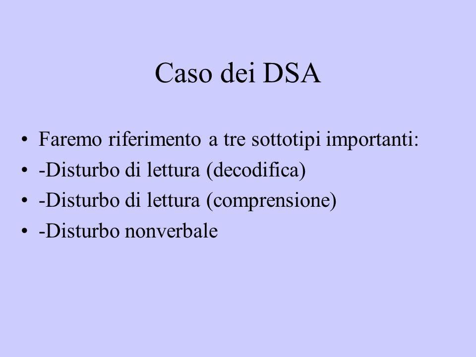 Caso dei DSA Faremo riferimento a tre sottotipi importanti: