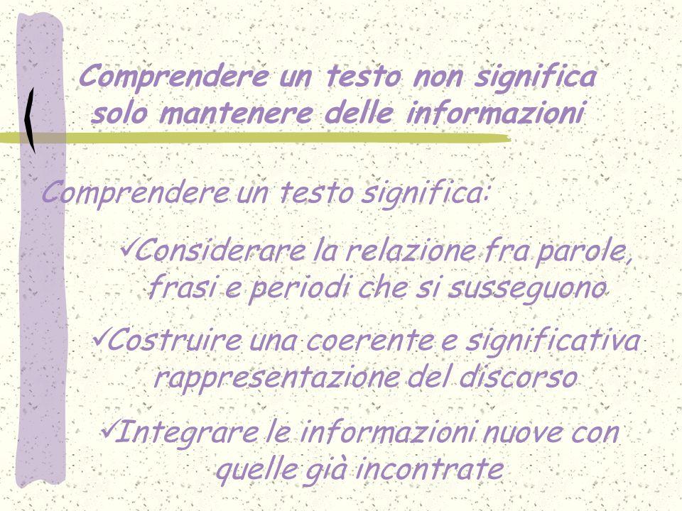 Comprendere un testo non significa solo mantenere delle informazioni