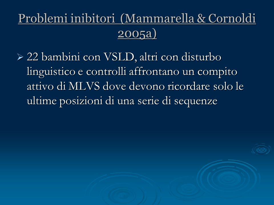Problemi inibitori (Mammarella & Cornoldi 2005a)