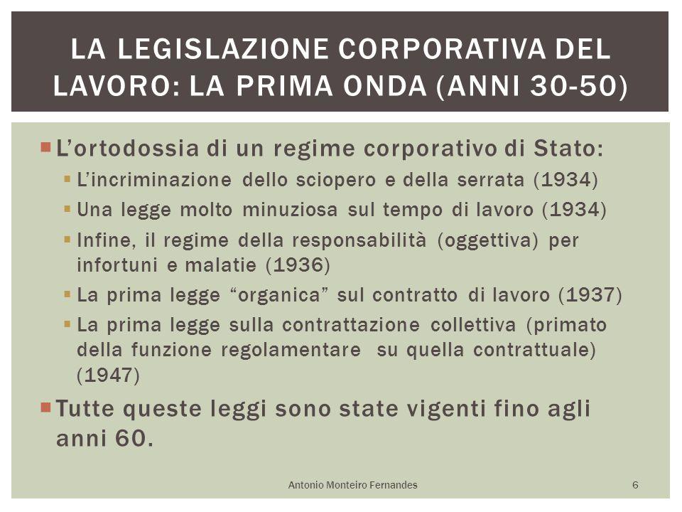 La legislazione corporativa del lavoro: la prima onda (anni 30-50)