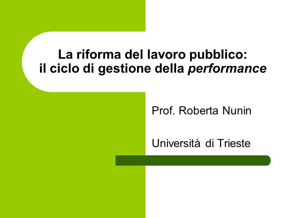 La riforma del lavoro pubblico: il ciclo di gestione della performance