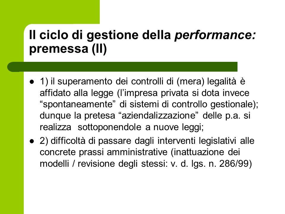 Il ciclo di gestione della performance: premessa (II)