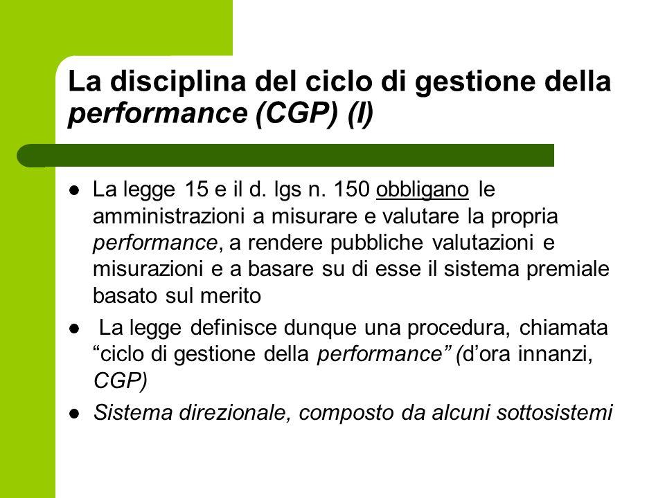 La disciplina del ciclo di gestione della performance (CGP) (I)