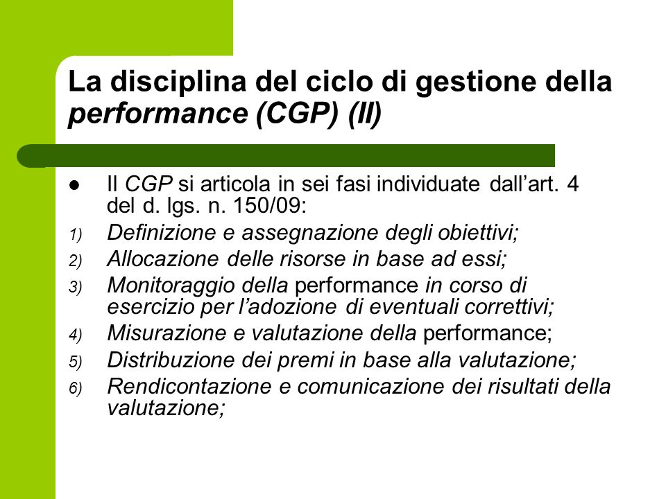 La disciplina del ciclo di gestione della performance (CGP) (II)