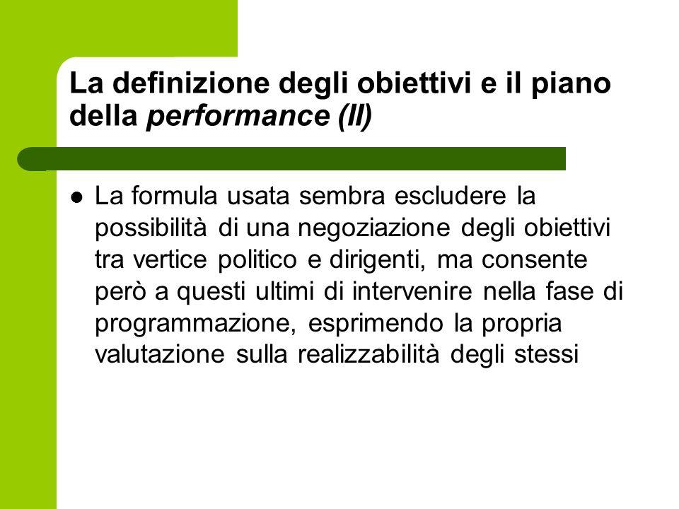 La definizione degli obiettivi e il piano della performance (II)