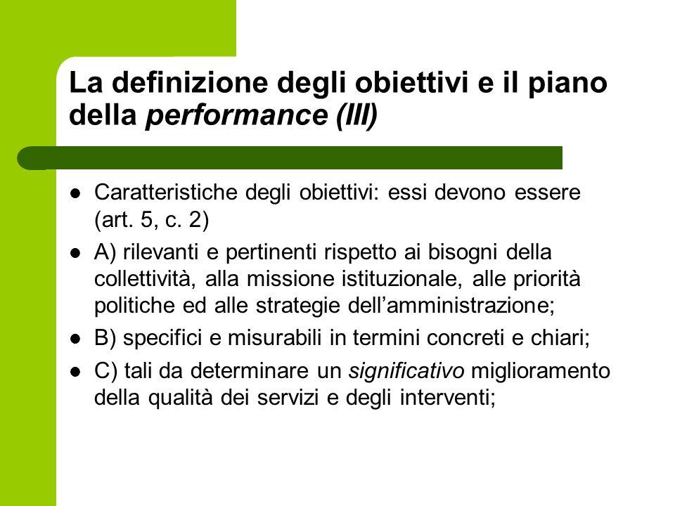 La definizione degli obiettivi e il piano della performance (III)