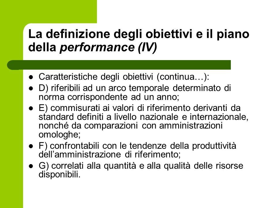 La definizione degli obiettivi e il piano della performance (IV)