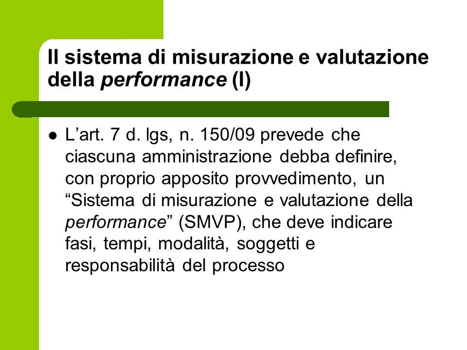 Il sistema di misurazione e valutazione della performance (I)
