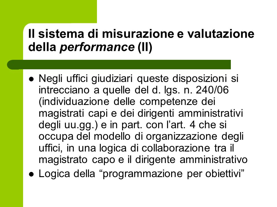 Il sistema di misurazione e valutazione della performance (II)