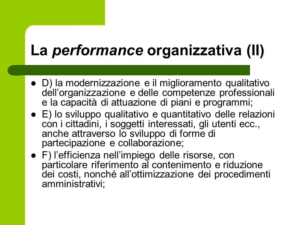 La performance organizzativa (II)