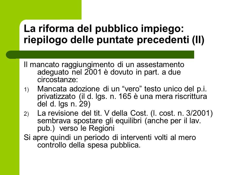 La riforma del pubblico impiego: riepilogo delle puntate precedenti (II)
