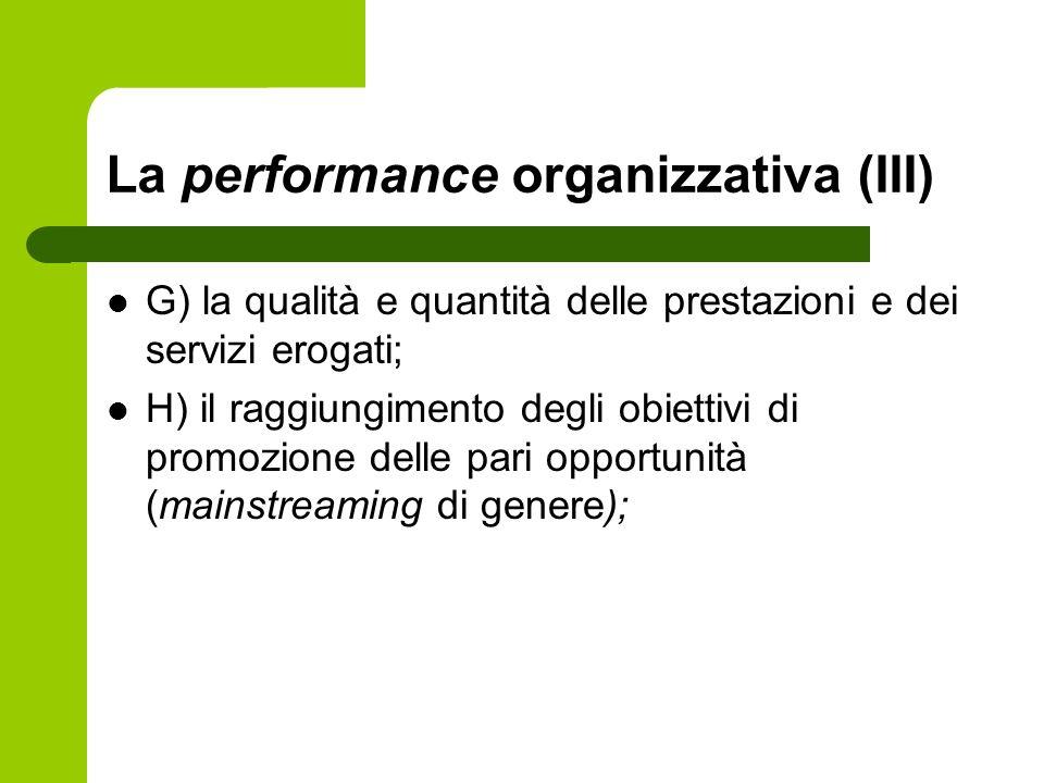 La performance organizzativa (III)