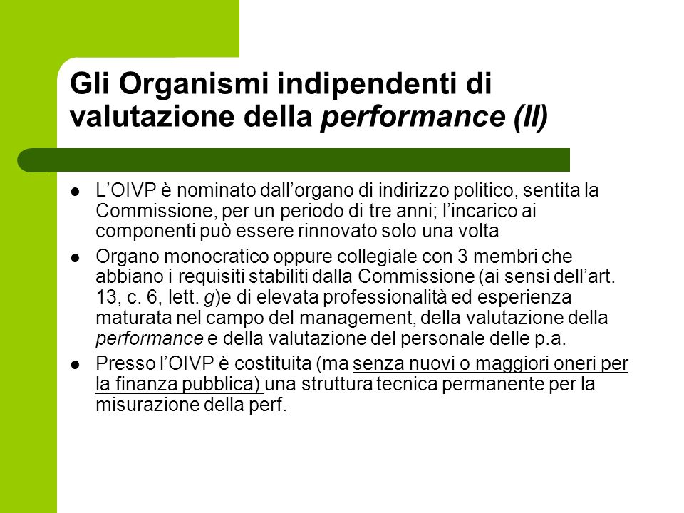 Gli Organismi indipendenti di valutazione della performance (II)