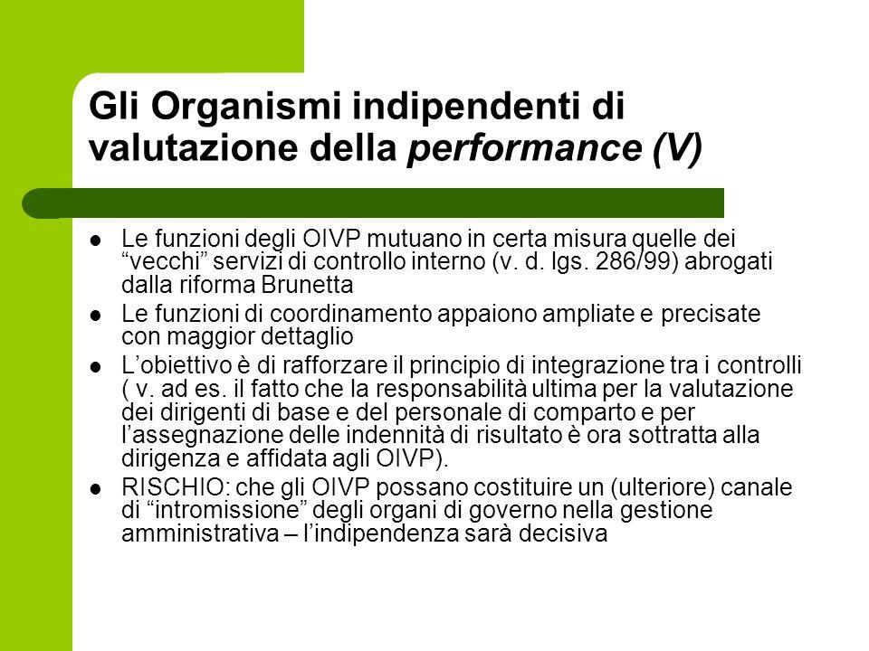 Gli Organismi indipendenti di valutazione della performance (V)