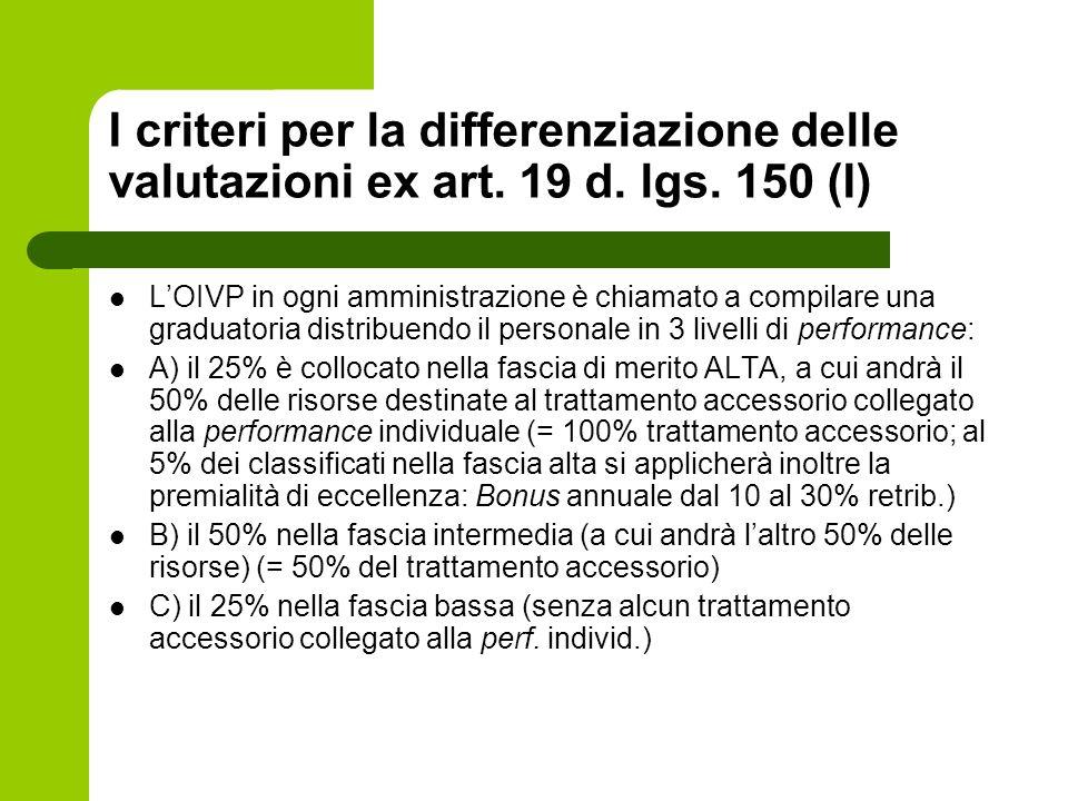 I criteri per la differenziazione delle valutazioni ex art. 19 d. lgs