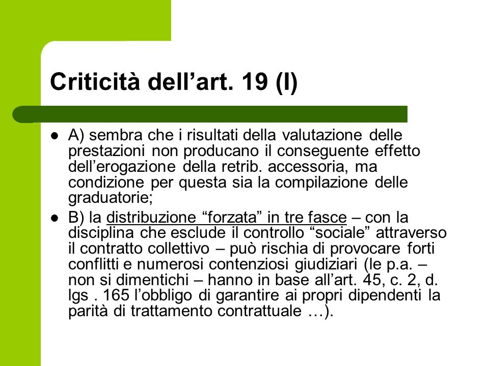 Criticità dell'art. 19 (I)