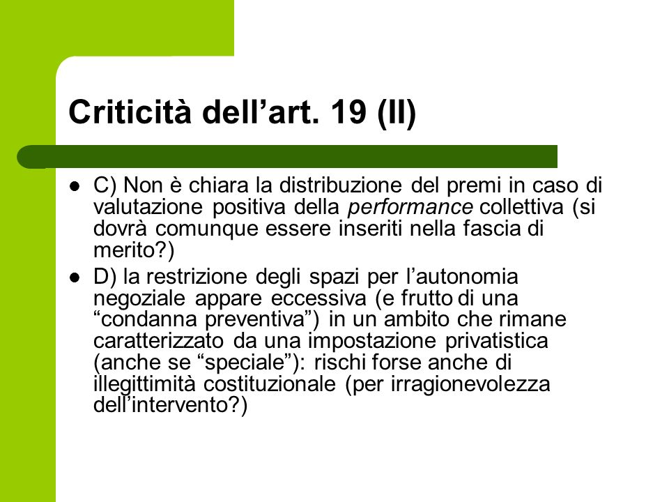 Criticità dell'art. 19 (II)