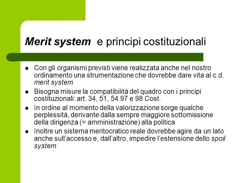 Merit system e principi costituzionali