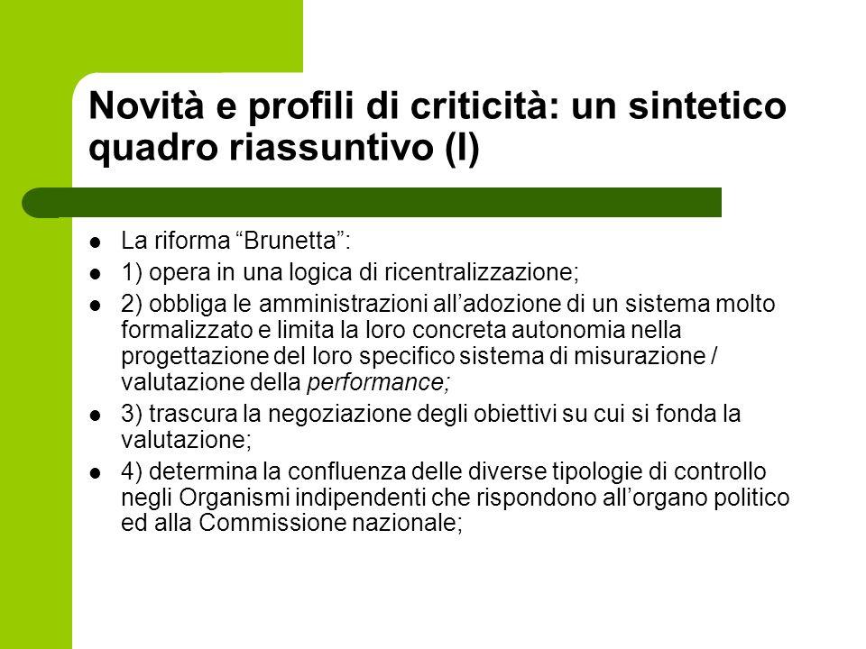 Novità e profili di criticità: un sintetico quadro riassuntivo (I)