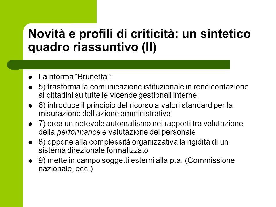 Novità e profili di criticità: un sintetico quadro riassuntivo (II)