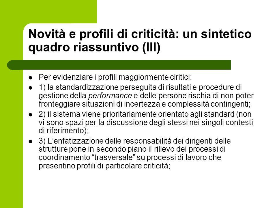 Novità e profili di criticità: un sintetico quadro riassuntivo (III)