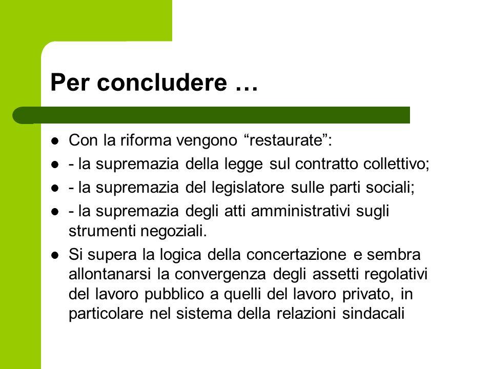 Per concludere … Con la riforma vengono restaurate :