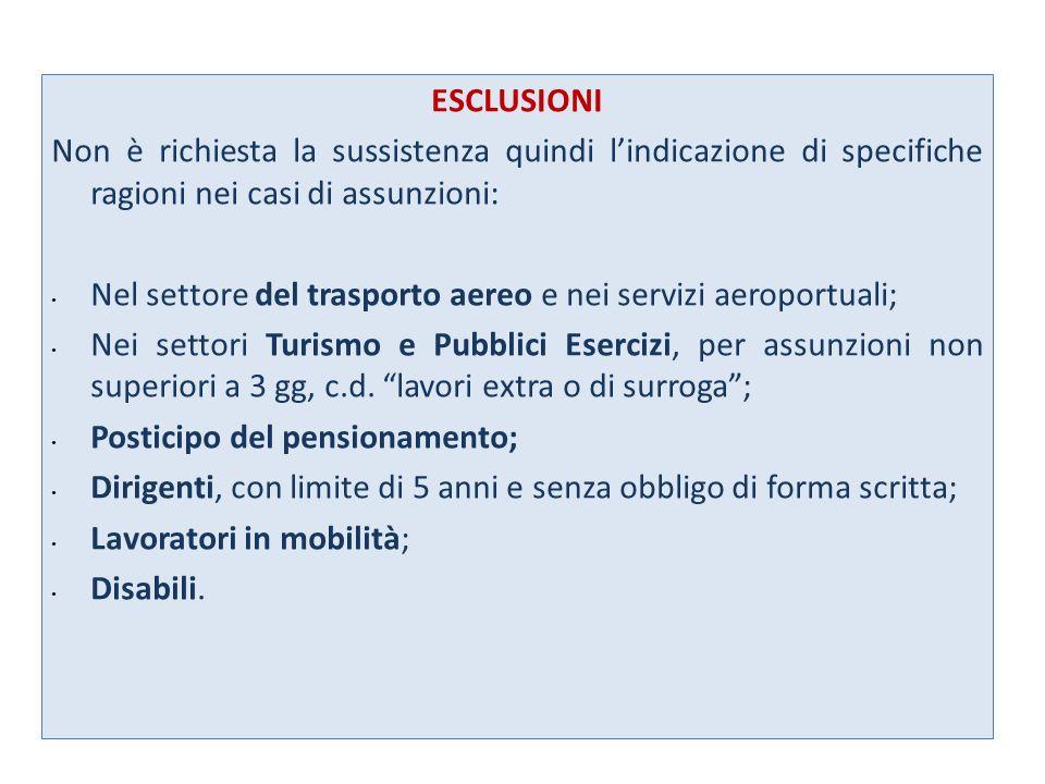 ESCLUSIONI Non è richiesta la sussistenza quindi l'indicazione di specifiche ragioni nei casi di assunzioni: