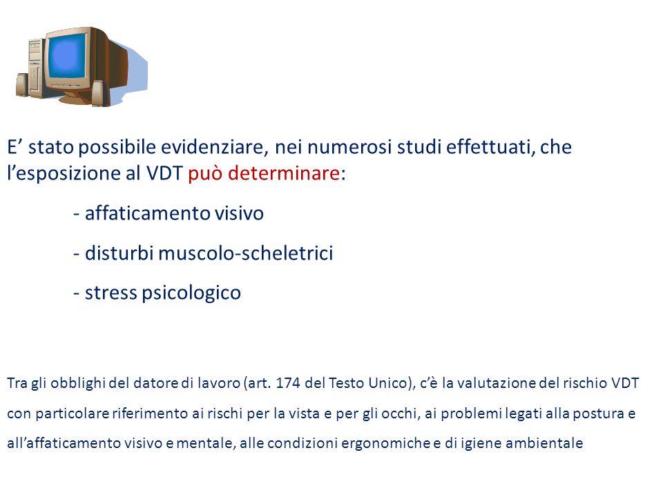 - affaticamento visivo - disturbi muscolo-scheletrici
