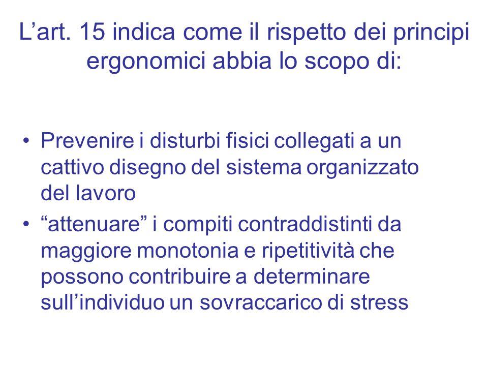 L'art. 15 indica come il rispetto dei principi ergonomici abbia lo scopo di: