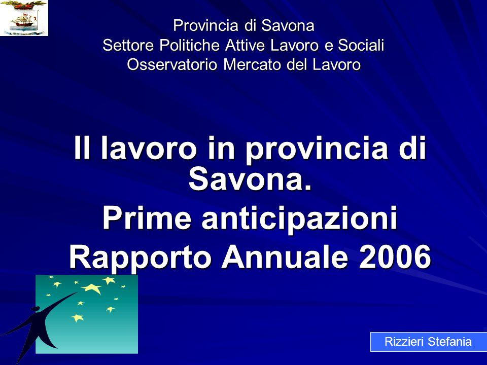 Il lavoro in provincia di Savona.