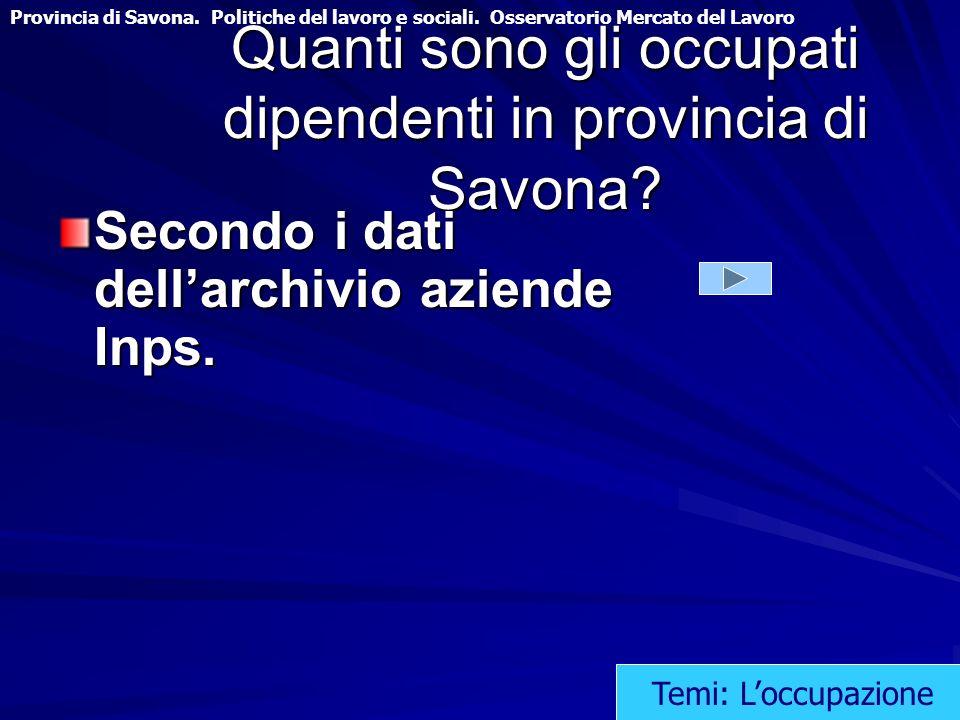Quanti sono gli occupati dipendenti in provincia di Savona