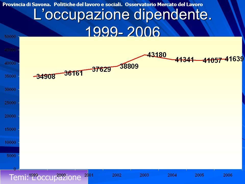 L'occupazione dipendente. 1999- 2006